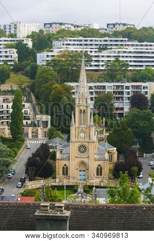 Aerial View On The Eglise St Denis In Sainte-adresse, Le Havre, Seine-maritime, Normandy, France.