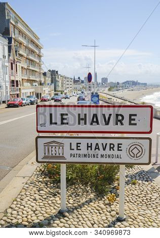 Le Havre, France - August 15, 2019: Street Sign In Le Havre, Seine-maritime, Normandy, France