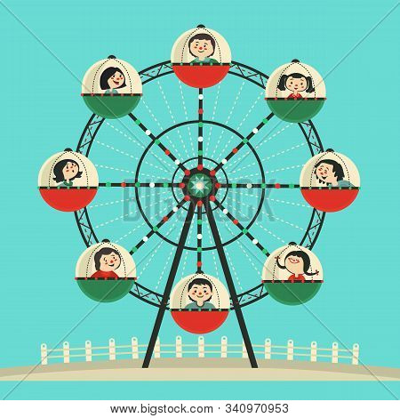 Happy Kids Ride Ferris Wheel Flat Color Vector Icon. Cute Children, Amusement Park Ferris Wheel Cart