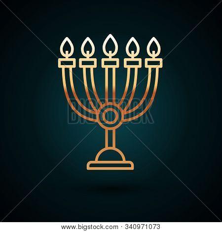 Gold Line Hanukkah Menorah Icon Isolated On Dark Blue Background. Hanukkah Traditional Symbol. Holid