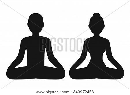 Man And Woman Meditating Sitting In Lotus Pose, Stylized Body Shape Silhouette. Simple Vector Icons