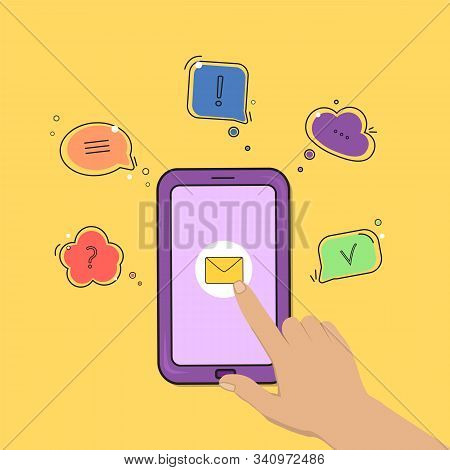 Chat Comment. Smartphone With Hand Icon And Speech Bubbles With Different Symbols. Vector Illustrati