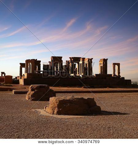 Sunrise In Persepolis. Iran. Ancient Persia. Square Format.