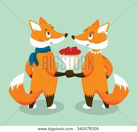 Anthropomorphic Red Foxes In Love With A Bouquet Of Red Roses. Isolated Character On Turquoise Backg