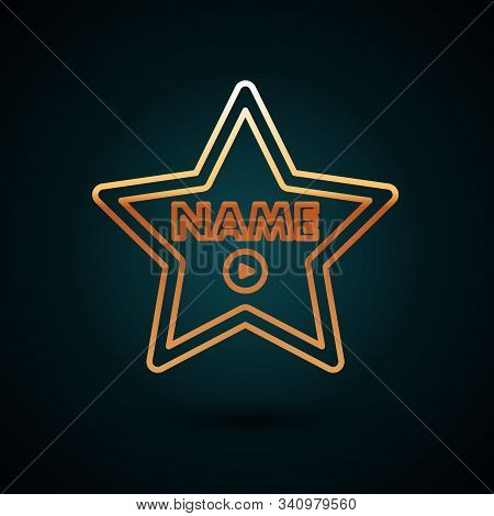 Gold Line Hollywood Walk Of Fame Star On Celebrity Boulevard Icon Isolated On Dark Blue Background.