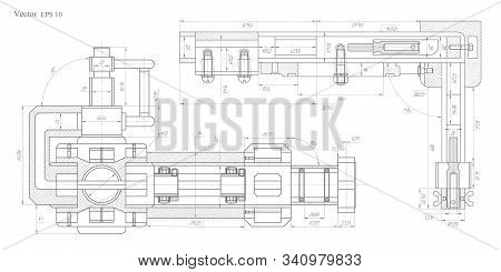 Technical Drawing Background .mechanical Engineering Drawing .parts For Industrial Construction.vect