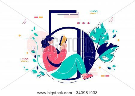 Woman Reading Book Sitting In Number Five Vector Illustration. Cipher Five Decorated With Green Leav