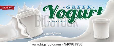 Greek Yogurt Ad Template, Blank Carton In Big Cream Splash. Vector Realistic Illustration For Commer