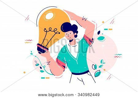 Man Holding Idea Lamp Bulb Vector Illustration. Lightbulb As Symbol Of Inspiration And Success Flat