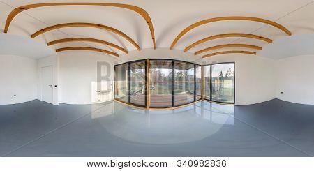 Full Seamless Hdri Panorama 360 Angle In White Empty Apartment Interior With Panoramic Windows And W
