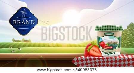 Yogurt Packaging Design On Rural Outdoor Background With Strawberry, Vector Illustration For Farm Mi