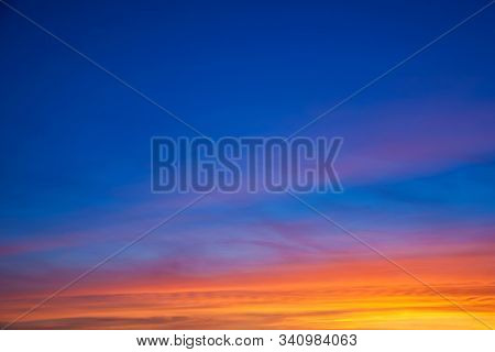 Multicolored Clouds And Sky At Sunset Dusk Forming An Amazing Landscape In A Farmstead Near Bento Go