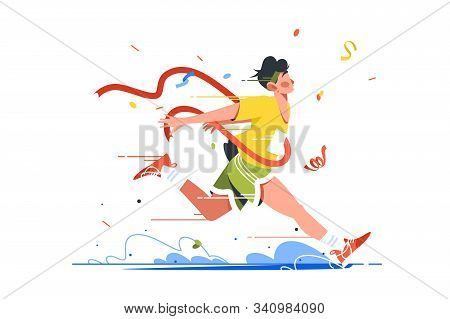 Winning Athlete Crosses Finish Line Vector Illustration. Man Achieve Success In Sport Flat Style. Pe