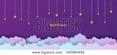 Night Sky In Paper Cut Style. Cut Out 3d Background With Violet And Blue Gradient Cloudy Landscape W