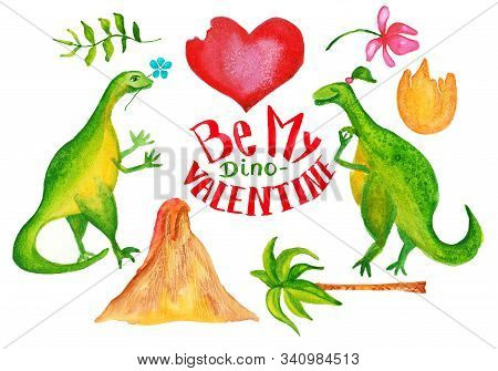 Cute dinosaurs set with bitten heart, volcano, eggshell, palm, flower and leafs . Watercolor illustration. poster