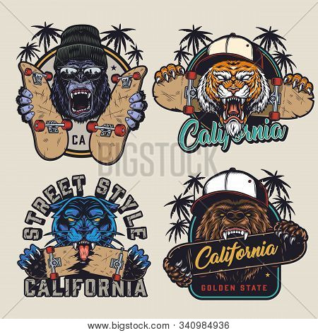 Vintage Skateboarding Prints With Angry Gorilla In Beanie Hat And Sunglasses Aggressive Tiger And Be