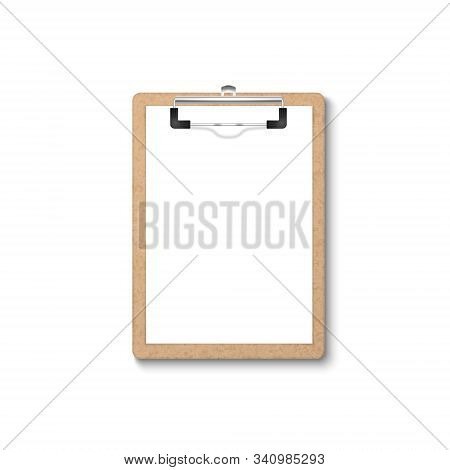 Vector 3d Realistic Brown Craft Clipboard With Blank Paper, Metal Clip Icon Closeup Isolated On Whit