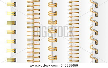 Set Of Gold Vertical Spirals For Notebooks And Calendars. Spiral Bindings For Sheets Of Paper. Isola