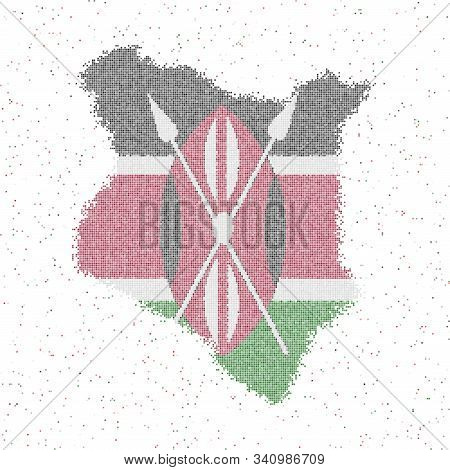 Map Of Kenya. Mosaic Style Map With Flag Of Kenya. Vector Illustration.