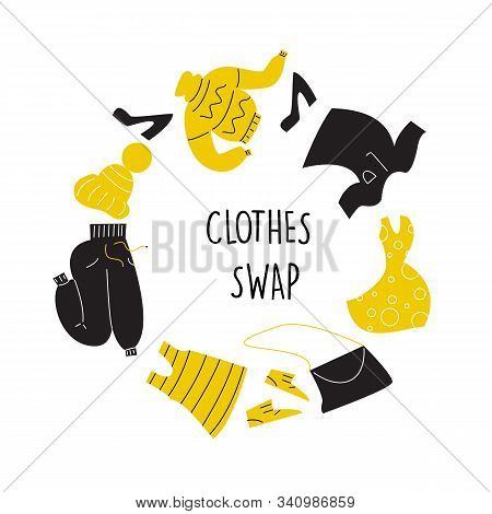 Vector Illustration Of Different Clothes For Exchange. Swap Clothes Concept. Circle Composition.
