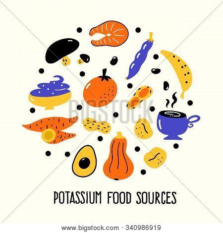 Potassium Food Sources. Vector Cartoon Illustration Of Potassium Rich Foods Round Composition