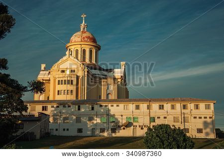 Cathedral And Building At The Sanctuary Of Our Lady Of Caravaggio On Sunset, In The Countryside Near