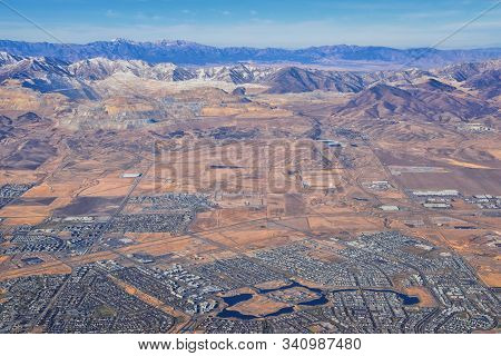 Daybreak Lake And Community And Oquirrh Mountains Aerial, Copper Mine, Wasatch Front Rocky Mountains