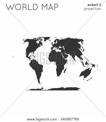 World Map. Globe In Eckert Ii Projection, Plain Style. Modern Vector Illustration.