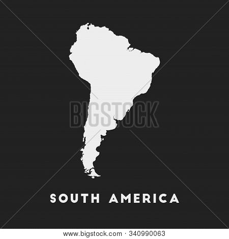 South America Icon. Continent Map On Dark Background. Stylish South America Map With Continent Name.