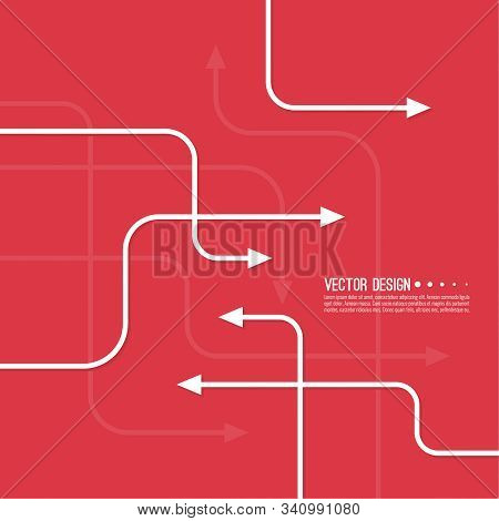 Vector Abstract Background With Various Curved Direction Arrows. The Concept Of The Path Of Movement