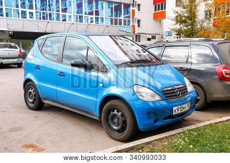 Ufa, Russia - October 10, 2019: Blue Compact Car Mercedes-benz A-class (w168) In The City Street.