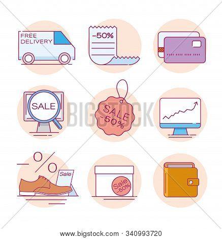 Modern Linear Pictogram Of E-commerce. Set Of Concept Line Icons E-commerce. Icons Of E-commerce. Fo