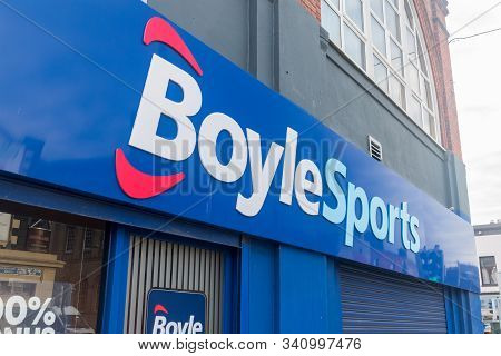 Dublin, Ireland - November 6, 2019: Logo And Sign Of Boylesports Betting And Gaming Shop In Dublin.