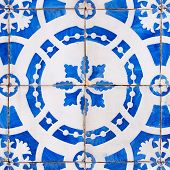 Texture from vintage azulejo tiles from Lisbon in Portugal, great for 3D texturing of objects. poster