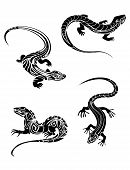 Fast lizards in black color and tribal style for tattoo design poster