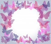 Beautiful nature frame with colorful transparent butterflies in shades of pink and purple over light gradient grey background poster