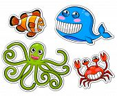 collection of four funny cartoon sea creatures poster