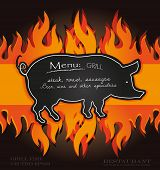 vector blackboard grill menu card pig fire board poster