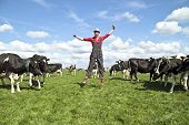 Happy dutch farmer with his cows in the countryside from the Netherlands poster