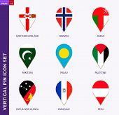 Vertical pin icon set, 9 country flag: Northern Ireland, Norway, Oman, Pakistan, Palau, Palestine, Papua New Guinea, Paraguay, Peru poster