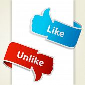 Like and unlike icons. Thumb up and thumb down signs for blogs and websites. Raster copy of vector illustration poster