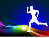 Sport illustration silhouette of a athlete player on a colorful wave background. EPS10 Vector. poster
