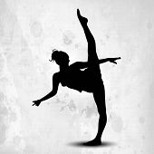 Silhouette of gymnastic girl on abstract grungy grey background. EPS10. poster