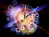 Composition of gears clock elements and abstract design elements as a concept metaphor on subject of scheduling temporal and time related processes deadlines progress past present and future poster