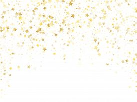 Magic Gold Sparkle Texture Vector Star Background. Glittering Gold Falling Magic Stars On White Back