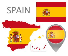 Colorful Flag, Map Pointer And Map Of Spain In The Colors Of The Spanish Flag. High Detail. Vector I