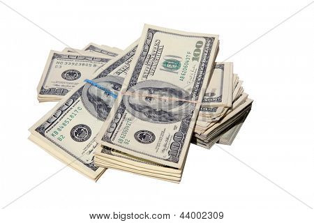 FAT STACKS of Money isolated on white. $100,000 dollars in Cash. Ready for you to pick up and put in your pocket. poster