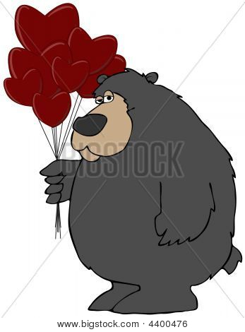 This illustration depicts a black bear carrying a bunch of Valentine balloons. poster
