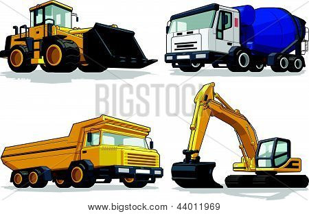 A vector set of several construction machines: bulldozer, cement truck, haul truck & excavator. Available as a Vector in EPS8 format that can be scaled to any size without loss of quality. Elements could be separated for further editing, color could b poster