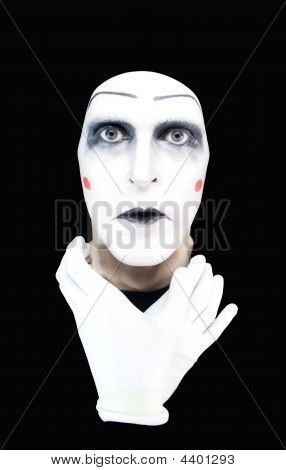 portrait of the mime with hands on a neck poster